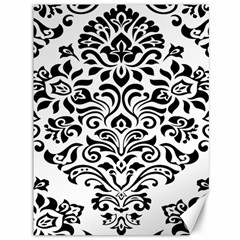 Vintage Damask Black Flower Canvas 36  X 48   by Mariart