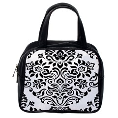 Vintage Damask Black Flower Classic Handbags (one Side) by Mariart