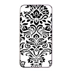 Vintage Damask Black Flower Apple Iphone 4/4s Seamless Case (black) by Mariart