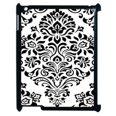Vintage Damask Black Flower Apple Ipad 2 Case (black) by Mariart