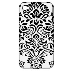Vintage Damask Black Flower Apple Iphone 4/4s Hardshell Case (pc+silicone) by Mariart