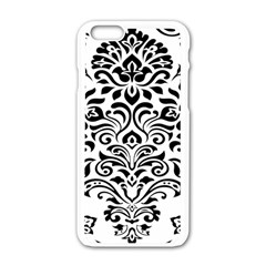 Vintage Damask Black Flower Apple Iphone 6/6s White Enamel Case by Mariart