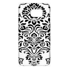 Vintage Damask Black Flower Galaxy S6 by Mariart