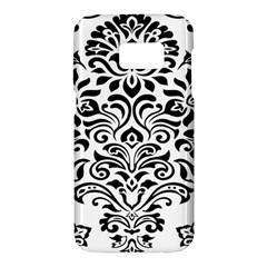 Vintage Damask Black Flower Samsung Galaxy S7 Hardshell Case  by Mariart