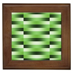 View Original Pinstripes Green Shapes Shades Framed Tiles by Mariart