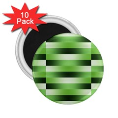 View Original Pinstripes Green Shapes Shades 2 25  Magnets (10 Pack)  by Mariart