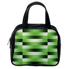 View Original Pinstripes Green Shapes Shades Classic Handbags (one Side) by Mariart