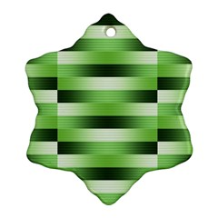 View Original Pinstripes Green Shapes Shades Snowflake Ornament (two Sides) by Mariart
