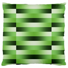 View Original Pinstripes Green Shapes Shades Large Cushion Case (one Side) by Mariart