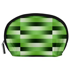 View Original Pinstripes Green Shapes Shades Accessory Pouches (large)  by Mariart