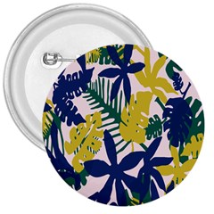 Tropics Leaf Yellow Green Blue 3  Buttons