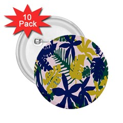 Tropics Leaf Yellow Green Blue 2 25  Buttons (10 Pack)