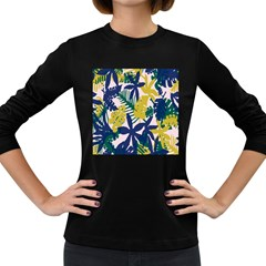 Tropics Leaf Yellow Green Blue Women s Long Sleeve Dark T Shirts by Mariart