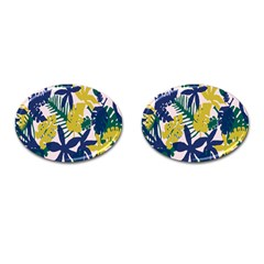 Tropics Leaf Yellow Green Blue Cufflinks (oval) by Mariart