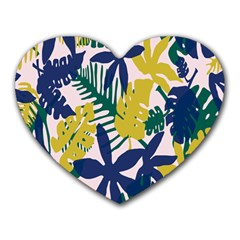 Tropics Leaf Yellow Green Blue Heart Mousepads by Mariart