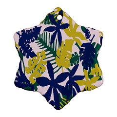 Tropics Leaf Yellow Green Blue Ornament (snowflake)