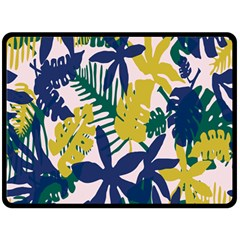 Tropics Leaf Yellow Green Blue Double Sided Fleece Blanket (large)  by Mariart