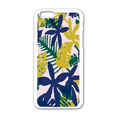 Tropics Leaf Yellow Green Blue Apple Iphone 6/6s White Enamel Case by Mariart