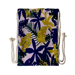 Tropics Leaf Yellow Green Blue Drawstring Bag (small) by Mariart