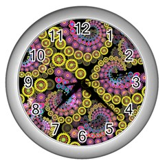 Spiral Floral Fractal Flower Star Sunflower Purple Yellow Wall Clocks (silver)  by Mariart