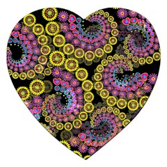 Spiral Floral Fractal Flower Star Sunflower Purple Yellow Jigsaw Puzzle (heart) by Mariart