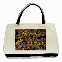 Spiral Floral Fractal Flower Star Sunflower Purple Yellow Basic Tote Bag by Mariart