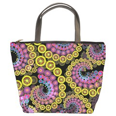 Spiral Floral Fractal Flower Star Sunflower Purple Yellow Bucket Bags by Mariart
