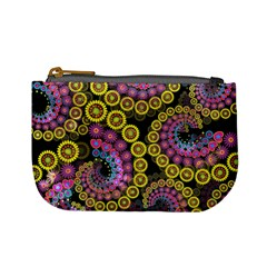 Spiral Floral Fractal Flower Star Sunflower Purple Yellow Mini Coin Purses