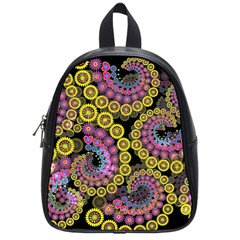 Spiral Floral Fractal Flower Star Sunflower Purple Yellow School Bags (small)  by Mariart