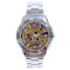 Spiral Floral Fractal Flower Star Sunflower Purple Yellow Stainless Steel Analogue Watch by Mariart