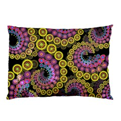 Spiral Floral Fractal Flower Star Sunflower Purple Yellow Pillow Case (two Sides)