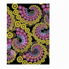 Spiral Floral Fractal Flower Star Sunflower Purple Yellow Large Garden Flag (two Sides) by Mariart