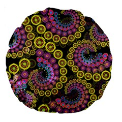 Spiral Floral Fractal Flower Star Sunflower Purple Yellow Large 18  Premium Round Cushions by Mariart