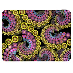 Spiral Floral Fractal Flower Star Sunflower Purple Yellow Samsung Galaxy Tab 7  P1000 Flip Case by Mariart