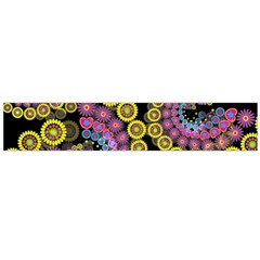 Spiral Floral Fractal Flower Star Sunflower Purple Yellow Flano Scarf (large) by Mariart