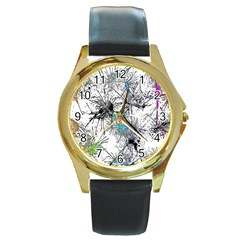 Color Fun 03f Round Gold Metal Watch by MoreColorsinLife