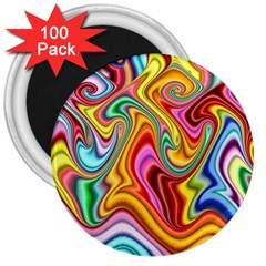 Rainbow Gnarls 3  Magnets (100 Pack) by WolfepawFractals