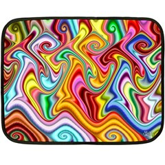 Rainbow Gnarls Double Sided Fleece Blanket (mini)  by WolfepawFractals