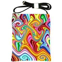 Rainbow Gnarls Shoulder Sling Bags by WolfepawFractals