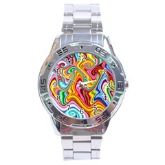 Rainbow Gnarls Stainless Steel Analogue Watch by WolfepawFractals