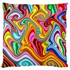 Rainbow Gnarls Large Flano Cushion Case (one Side) by WolfepawFractals