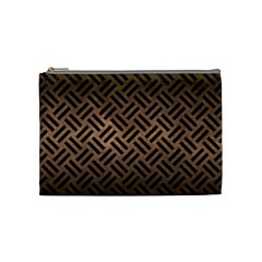 Woven2 Black Marble & Bronze Metal (r) Cosmetic Bag (medium) by trendistuff