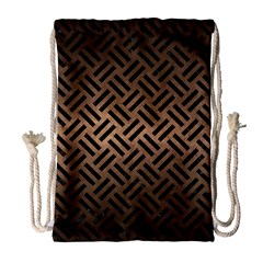 Woven2 Black Marble & Bronze Metal (r) Drawstring Bag (large) by trendistuff