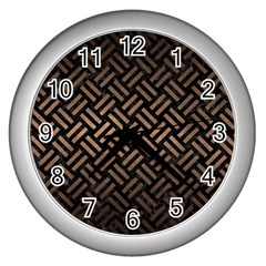 Woven2 Black Marble & Bronze Metal Wall Clock (silver) by trendistuff