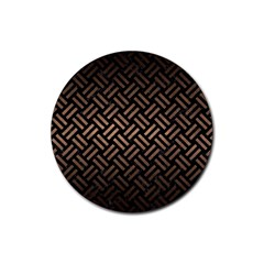 Woven2 Black Marble & Bronze Metal Rubber Coaster (round) by trendistuff