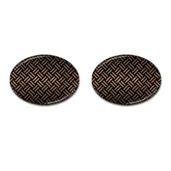 Woven2 Black Marble & Bronze Metal Cufflinks (oval) by trendistuff