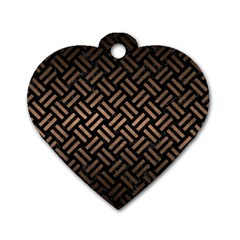 Woven2 Black Marble & Bronze Metal Dog Tag Heart (two Sides) by trendistuff