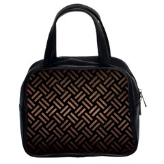 Woven2 Black Marble & Bronze Metal Classic Handbag (two Sides) by trendistuff