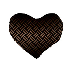 Woven2 Black Marble & Bronze Metal Standard 16  Premium Flano Heart Shape Cushion  by trendistuff