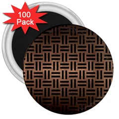 Woven1 Black Marble & Bronze Metal (r) 3  Magnet (100 Pack) by trendistuff